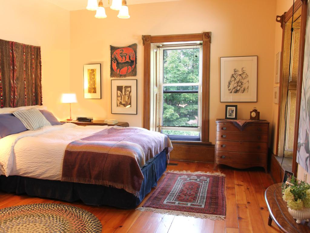 master bedroom in ontario stone home portland