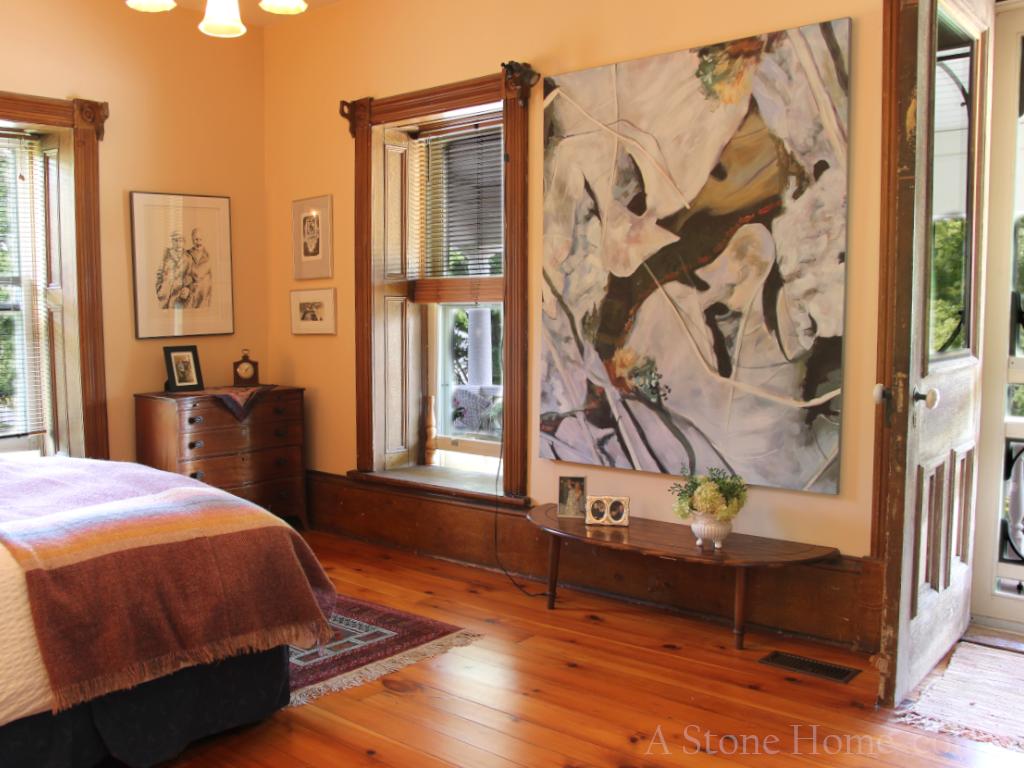 masterbedroom in protland ontario stone home