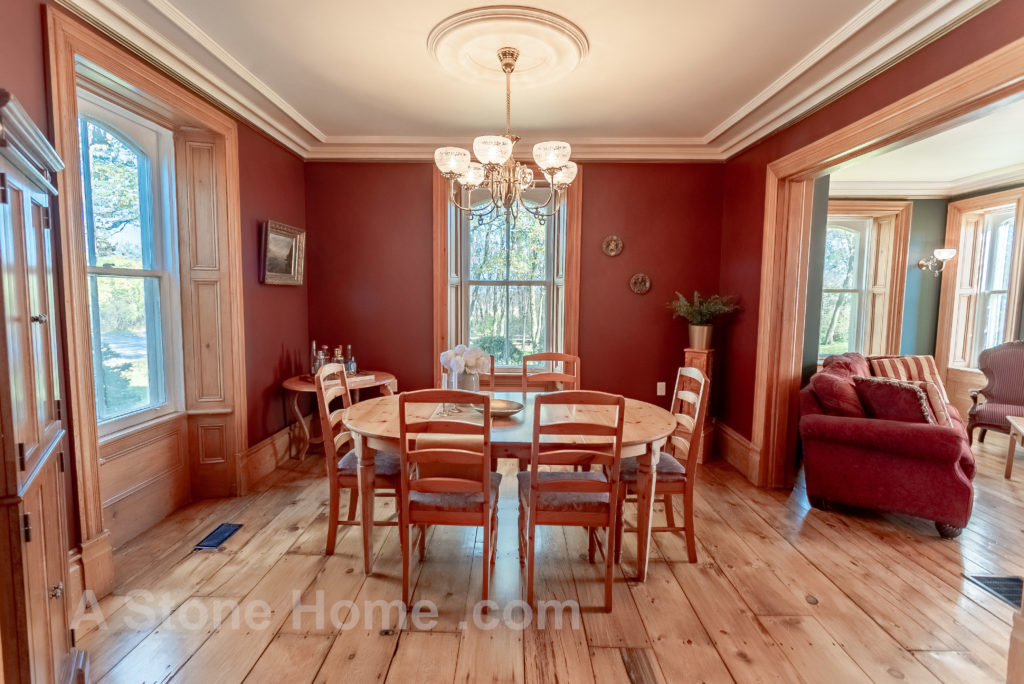 Merrikville Ontario stone home for sale Dave Chomitz dining room