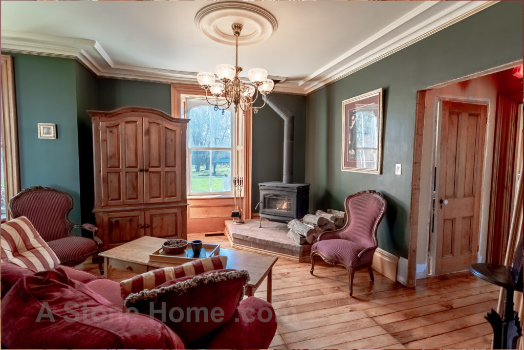 Merrikville Ontario stone home for sale Dave Chomitz living room 2