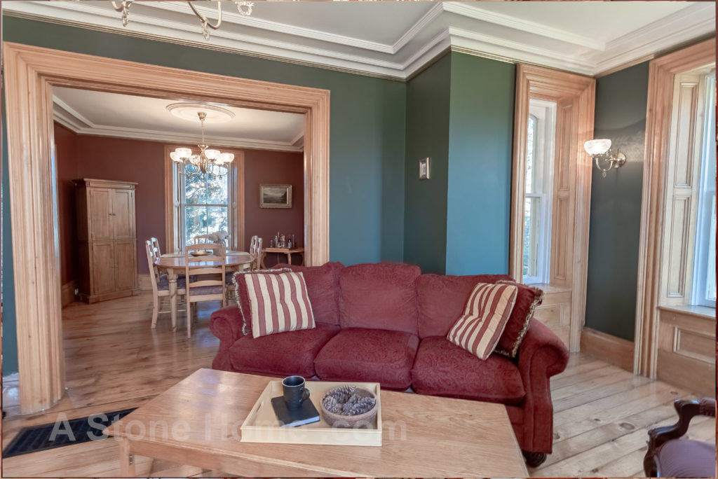 Merrikville Ontario stone home for sale Dave Chomitz living room 3