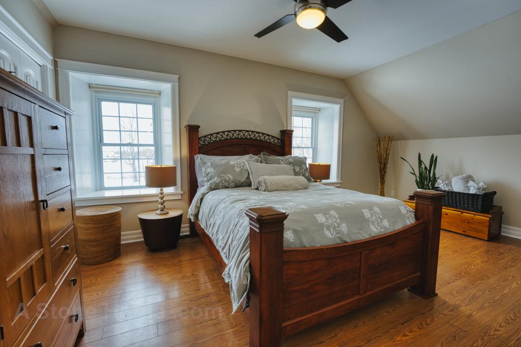 Ontario stone home near Lombardy master bedroom